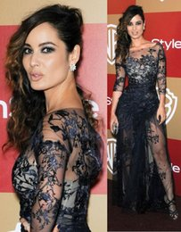 Wholesale Berenice Marlohe In Zuhair Murad Lace Illusion Long Sleeve Prom Dresses Monique Lhuillier Mermaid Split Evening Dresses