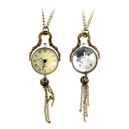 Round Glass Ball Antique-Style Steampunk Watch Necklace Pocket Fob Watch Lead Black