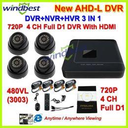 Promotion caméra pour la sécurité cctv Système de caméra HDMI 4CH complet AHDL D1 H.264 DVR Kit Nightvision sécurité 480TVL Dôme Caméra de surveillance vidéo Système bricolage CCTV