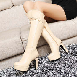 Wholesale Sex Boots Fashion - Wholesale-2015 new fashion waterproof boots, knee high women boots, high heeled ladies sexes big size shoes