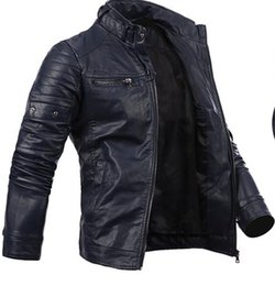 Wholesale Leather Jacket Mens Button Brown - Fall-2015 New arrival men's Jacket pu Leather Jacket motorcycle Jacket casual mens coat zipper button mens jacket Navy 3641