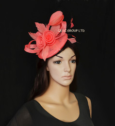 New Arrival. Coral pink sinamay Fascinator feather fascinator for Melbourne cup,Kentucky derby,wedding,Races.