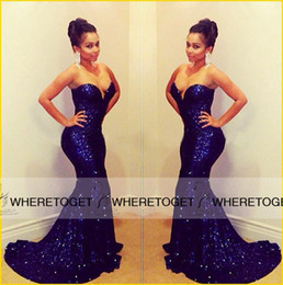 2019 Bling Royal Blue Sequins Mermaid Evening Dresses with Strapless Sweetheart Backless Sweep Train Party Prom Formal Gowns Plus Size