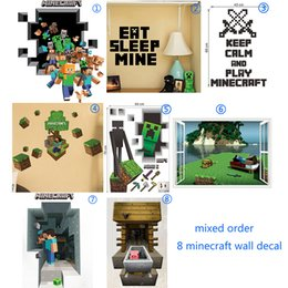 Wholesale 3D Minecraft through Wall Stickers Creeper Decorative Steve Dig Wall Decal Cartoon Wallpaper Kids Party Decoration Christmas Wall Art Poster