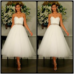 Wholesale 2016 Mini Chic Sweetheart Tea length Tulle Wedding Dresses with Short Points Molded Frame Noiva Dress Bridal Gowns