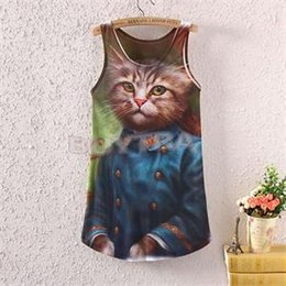 2014 New HE Fashion Women's Sleeveless Tanks Mr Cat Graphic Printed Tank Tops EH