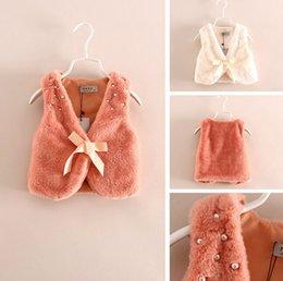Wholesale Girls Cute Waistcoat Fur Vest Warm Sleeveless Children Outwear Winter Kids Clothing beades bow Girl Waistcoat LD198