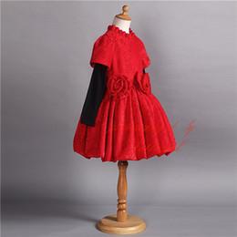 Pettigirl Hot Selling Winter Red Girls Dress Long Sleeve Warm Kids Clothing Wear A-Line Fashion Flowers Child Dress GD80930-203F