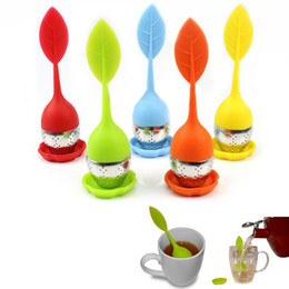 Food-grade Silicone & Stainless Steel Leaf Tea Leaf Strainer Herbal Infuser Tea Filter 100pcs lot DHL