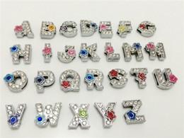 Wholesale 52PCS Lot 8MM Full Rhinestones Flower Slide Letters A-Z Alphabet DIY Slide Charms Fit 8MM Wristbands Bracelets Belts Collars SL14