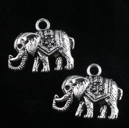 Wholesale New MIC Antiqued Silver Single sided Elephant Alloy Metal Charms Pendants X19mm Jewelry DIY Jewelry Findings Components L1187