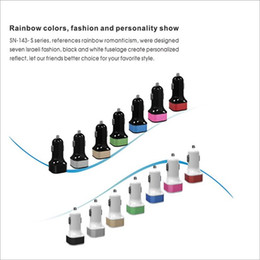Wholesale Dual USB Car Charger Color Micro Mini USB Car Auto Power Adapter Adaptor For iPhone S C Samsung S Note HTC iPad