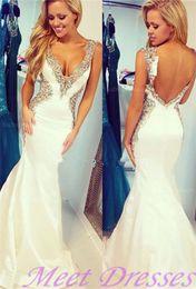 2020 White Prom Dress Backless Long Mermaid Straps Beaded Bodice Sequins Prom Dresses