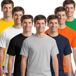 Wholesale 2015 Special Offer Sale Solid Tshirt Men Gildan Ji Erdan Casual Round Neck Short sleeved T shirt Bottoming Shirt Loose Cotton Blank