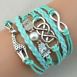 Infinity Bracelets Antique Charm Owl Giraffe Infinity Braided Mix Colors Leather Bracelets Fashion Wrist Band Jewellery Free Shipping 500pcs