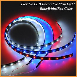Wholesale 4X cm Flexible LED Car Strips V Waterproof DIY LED Daytime Running lights or Car Auto Decor White Red Blue Yellow