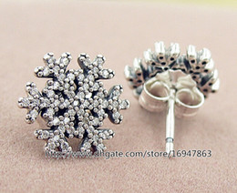 High-quality New 100% S925 Sterling Silver Stud Earrings European Pandora Style Jewelry Snowflake Earrings with Cz