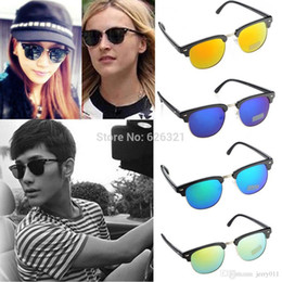 1PC NEW Fashion Classic Retro Avaitor Golden Mirrored Lens Sunglasses Brown Shades Women Men Accessories