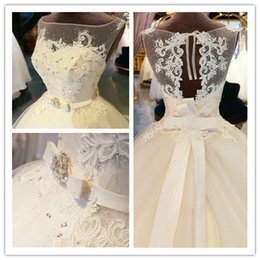 Wholesale Organza Appliques Floor Length Ball Gown Illusion Wedding dress Chapel Train Zipper Beaded Crystal Bridal Gown Custom made