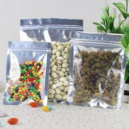 Wholesale Front Side Clear Zip lock Seal Aluminum Foil Bag Flat Bottom tea coffee food sealing retail packing