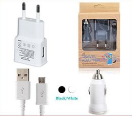 Wholesale For S4 S5 Micro USB Cable in Kits Mini USB Bullet Car Charger EU US Wall Charger Adapter For Samsung S4 S3 S5 HTC Mobile phone US0