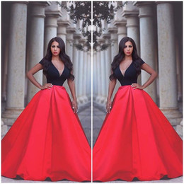 Black And RED SatinEvening Dresses Celebrity Dresses Red Carpet 2016 Vintage Fashion Cheap Evening Prom Gowns Vestidos