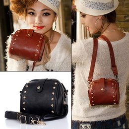 Wholesale-2015 Fashion Shoulder Handbags Women Leather Handbags Cross Body Bag Women Messenger Bags Rivet Camera bag Purse 18