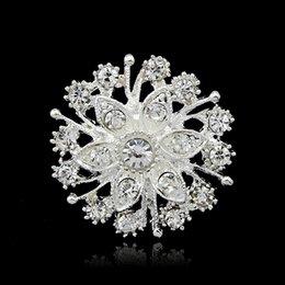 Wholesale Silver Tone Clear Rhinestone Crystal Brooch Flower Girls Corsage Fashion Brooch Wedding Bridal Bouquet Pins Brooches