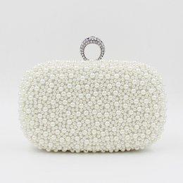 Wholesale-2016 fashion luxury white ivory champagne pearl ring clutch beaded banquet handbag wedding bride clutch prom dress evening bag