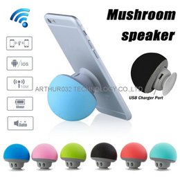 Wholesale Mushroom Speakers Mini Wireless Bluetooth Speaker HandsFree Sucker Cup Audio Receiver Music Stereo Subwoofer For Android IOS Smart Phone PC