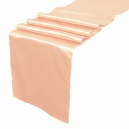 Wholesale 5 pieces Peach color Satin Table Runner Wedding Cloth Runners Silk Organza Holiday Favor Party Decorations Flag RUN