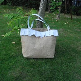 Wholesale Blanks 2015 Burlap Tote Bag with Matched Ruffle Jute Material Women Large Shopping Bag DOM103227