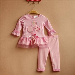 Wholesale RARE EDITIONS sping autumn baby girl cotton pink long sleeve shirt long pants set with balloon pattern kids girl outfit
