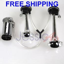Wholesale 12V Dual Twin Horn Metal Coated Auto Horn Sound Loud Buzina Para Carro Car Truck Air Horn Compressor Claxon Motorcycle Horn