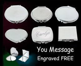 Wholesale FREE Personalised Engraved Handbag Compact Mirror Birthday Gift Wedding Gift