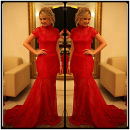 2016 Modest High Neck Red Lace Evening Dresses Short Sleeve Mermaid Sexy Open Backless Dresses Party Evening For Formal Occasion Dresses