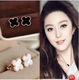 Wholesale Fashion Jewelry Four leaf clover stud Earrings Celebrity Style Lucky Clover Earrings Stud Best Gift Earrings W841