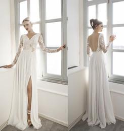 Elegant Column Beach Wedding Dresses V-Neck Ivory Chiffon Long Sleeves with Lace Open Back Court Train New 2016 Custom Bridal Gowns