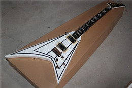 High Quality Flying V Electric Guitar with White Body and Black Lines and Can be Changed