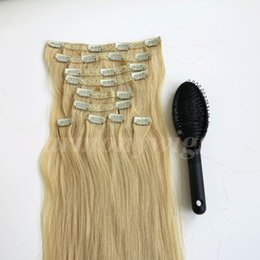 160g 10pcs set Clip in on Hair Extensions double drown straight 20 22inch Brazilian Indian Remy Human Hair #613 Bleach Blonde