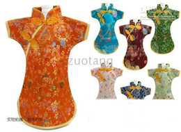 Luxury Chinese style Wedding Wine Bottle Covers Decoration Bags Silk Fabric Wine Clothes 50 pcs lot mix color style