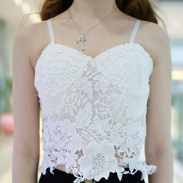 lace crochet top Celebrity Style Women Elegant Black White Hollow Out Floral Lace Bustier Crop Tops Camisole Short Fitness Crochet Top