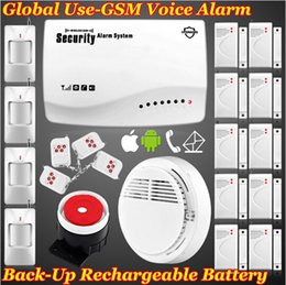 Wholesale 6Wireless wired GSM Voice Home fire Alarm PIR Kit Secure System App Remote Control Set Arm Disarm Smoke Detector Alarme Android