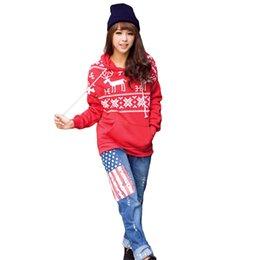 New Fashion Women Hoodies Cartoon Deer Print Sweatshirt Long Sleeve Hoodies Sport Casual Pullover Women Top Black Red White