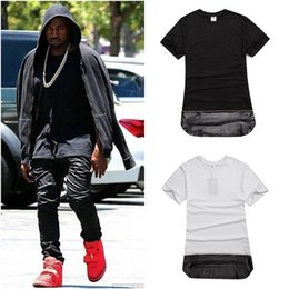 Men Gold Zipper Hip Hop T Shirt Long Streetwear Long Extended Swag T-Shirt Black  White  Fashion Tops Tees Plus Size M-XXL