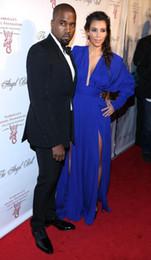 Promotion kim kardashian bleu robe de célébrité Kim Kardashian col en V profond à manches longues bleu royal fente latérale étage longueur Red Carpet Robes de Célébrités Robes de soirée Prom robes élégantes