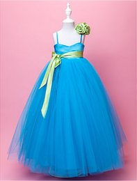 Custom Made Beautiful Ball Gown Spaghetti Straps Floor-Length Embellishing Satin And Tulle Flower Girl Dress With Hand Made Flowers