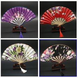 Wholesale Summer Elegant Lady Silk Fans Bamboo Folding Hand Dancing Wedding Party Decor Flower Tassel Fan