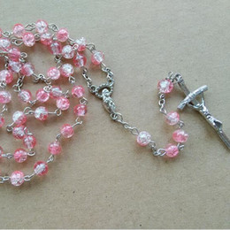 European Fashion Catholic Religious Jewelry Long 8 mm Pink Glass Rosary Necklace Cross Pendant For Women