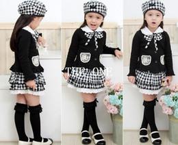 Wholesale Clothes For Kids Girls School - children three piece suit for girls 3pcs girls kids outfit bowknot Coat Plaid Skirt Hat dress set school clothes for girls free shipping